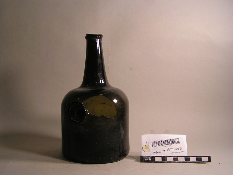 Glass wine bottle with stamp (B)