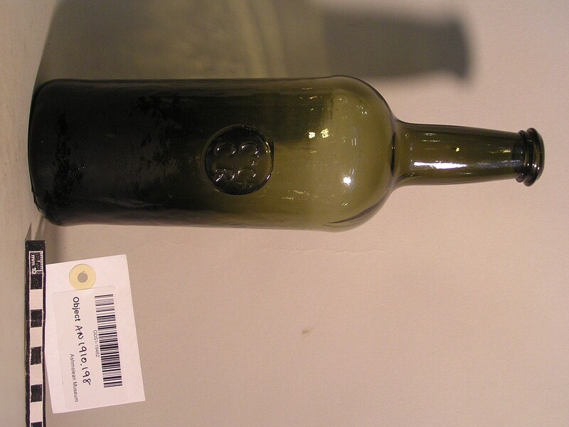 Wine bottle bearing stamp of Christ Church Common room