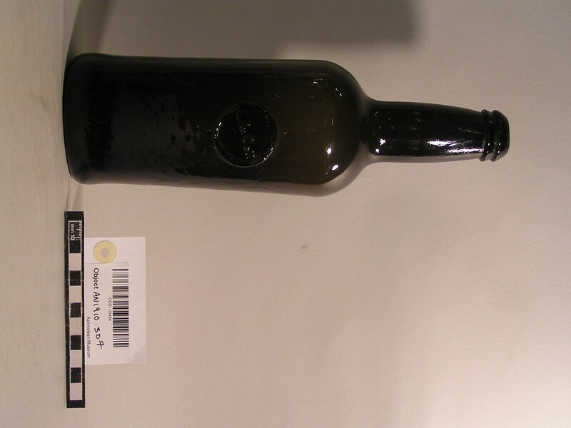 Wine bottle with stamp of Lincoln College common room (AN1910.307, record shot)