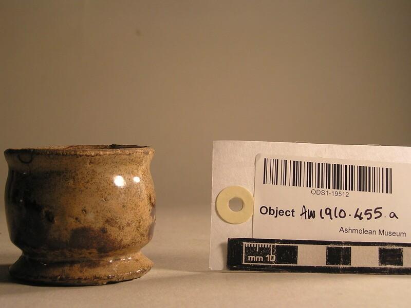 White glazed pedestal bowl, possibly a mortar