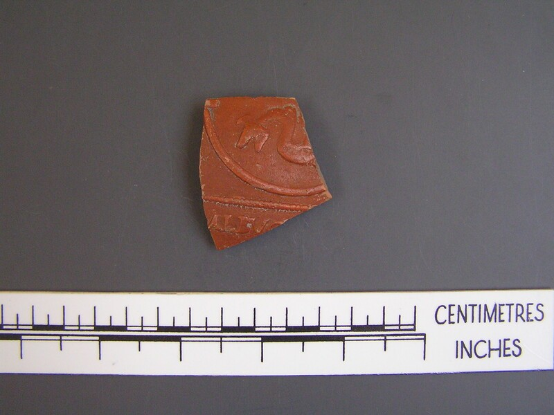 Bowl fragment stamped ALBVC with tail of a dolphin (AN1960.1140, record shot)