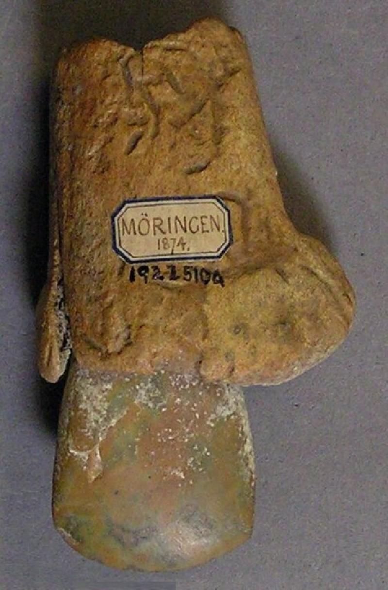 Polished stone axe, with antler socket haft