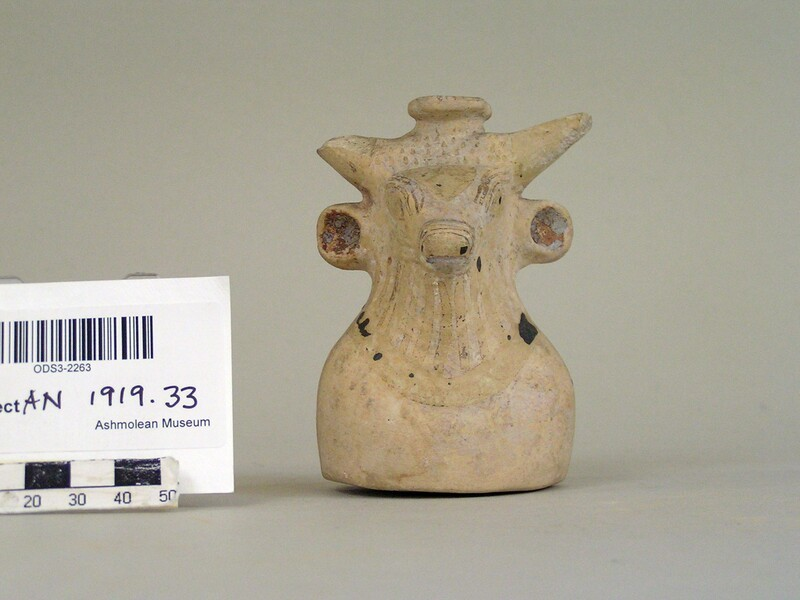 East Greek pottery aryballos in the shape of a bull (AN1919.33, record shot)