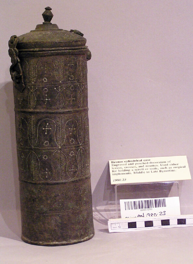 Scroll case decorated with leaves, crosses and rosettes (AN1980.23, record shot)