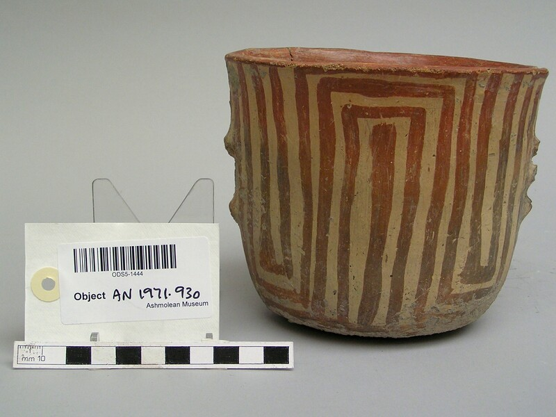 Deep cup decorated in Hacilar painted pottery style (AN1971.930, record shot)