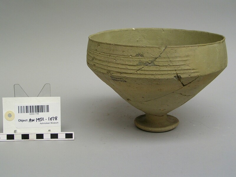 Pedestal bowl, greenish ware with horizontal grooving on rim (AN1932.1078, record shot)