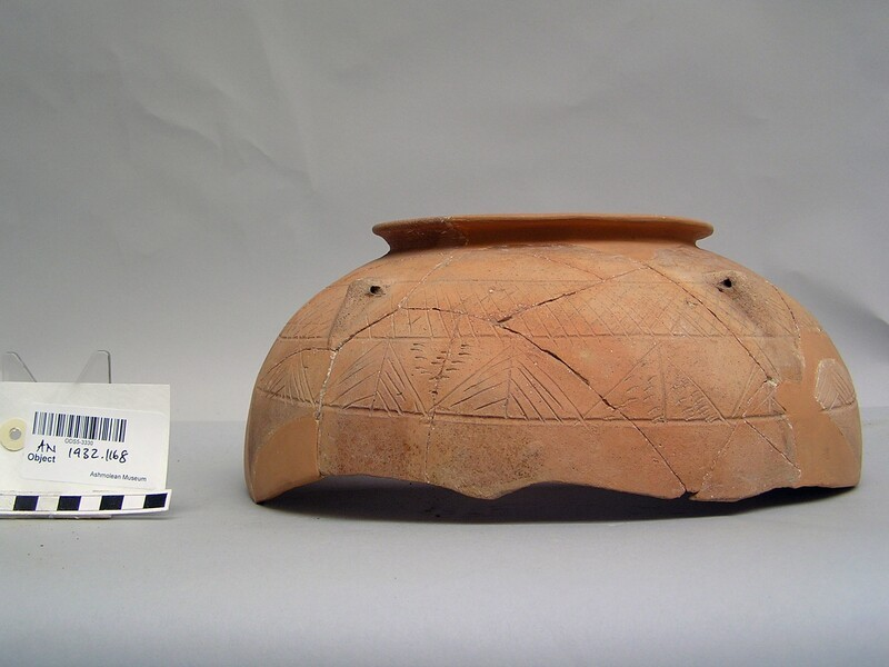 Top section of pot with incised pattern and four handles
