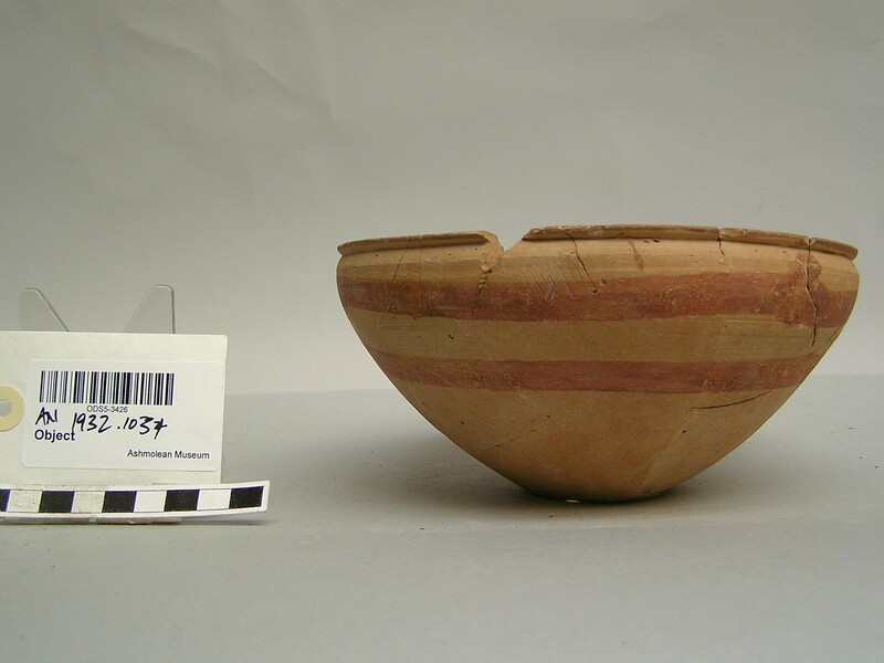 Bowl with red horizontal painted stripes