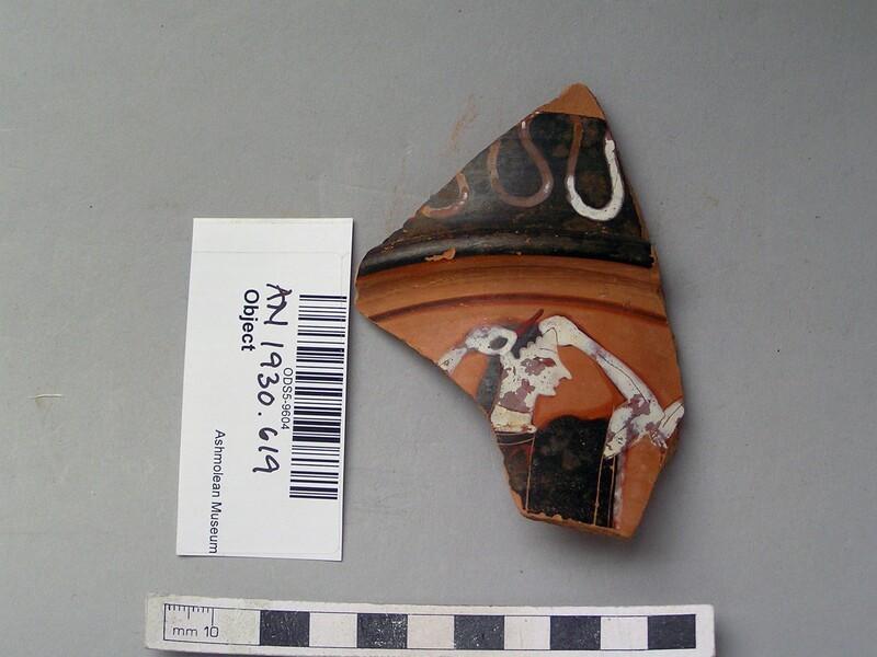 Attic black-figure pottery loutrophoros sherd depicting a funerary scene (AN1930.619, record shot)