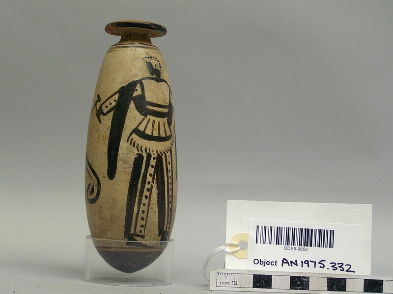 Attic red-figure white ground pottery unguent jar depicting a warrior scene (AN1975.332, record shot)