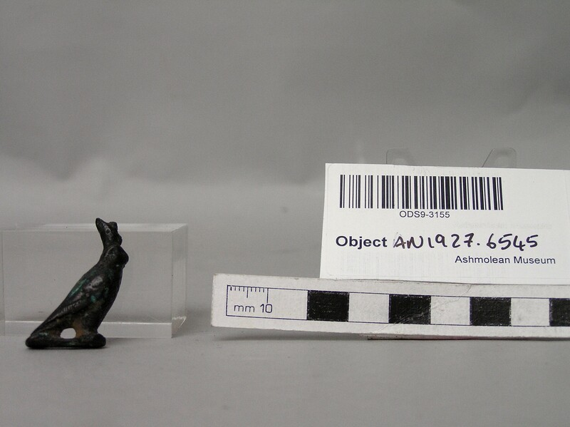 Figurine in the shape of a hawk, perhaps Horus (AN1927.6545, record shot)