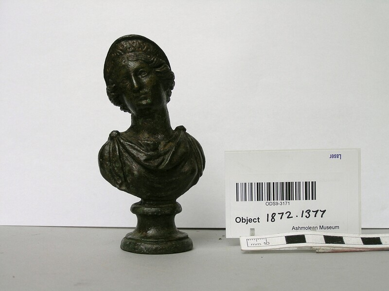 Furniture fitting in the form of a small bronze bust of Juno or Hera (AN1872.1377, record shot)