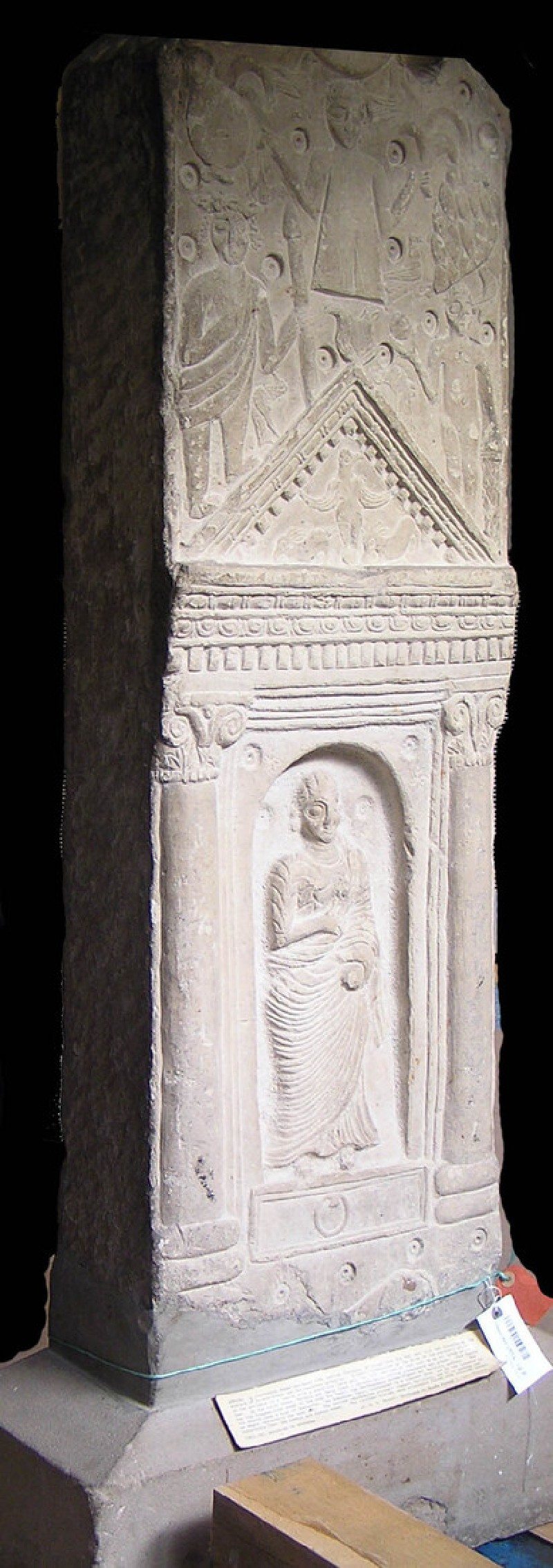 Neopunic relief of female standing in niche below deities and animals (AN1952.187, record shot)