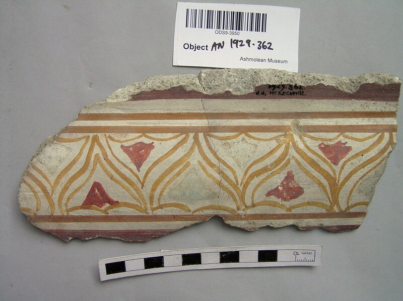 Fragment of painted stucco moulding