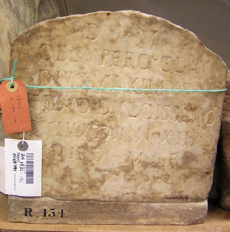 Latin inscription to D.M.C.L. Supero, Claudius Maximus (AN1836.p127.191, record shot)