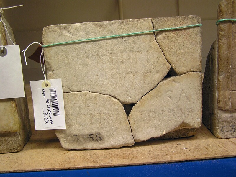 Fragment of funerary Latin inscription