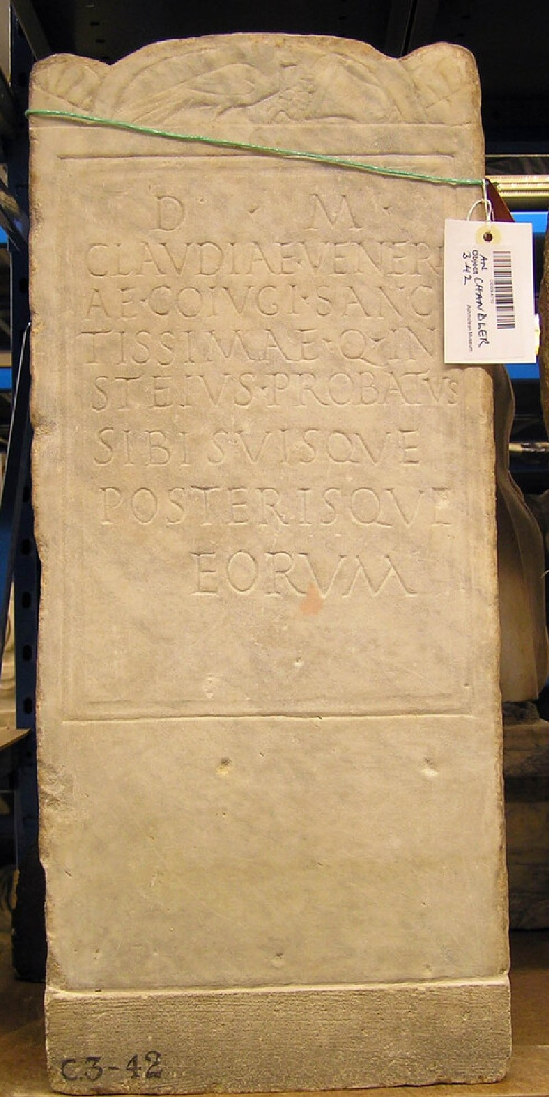 Stele with Latin inscription for CLAUDIA VENERIA (ANChandler.3.42, record shot)