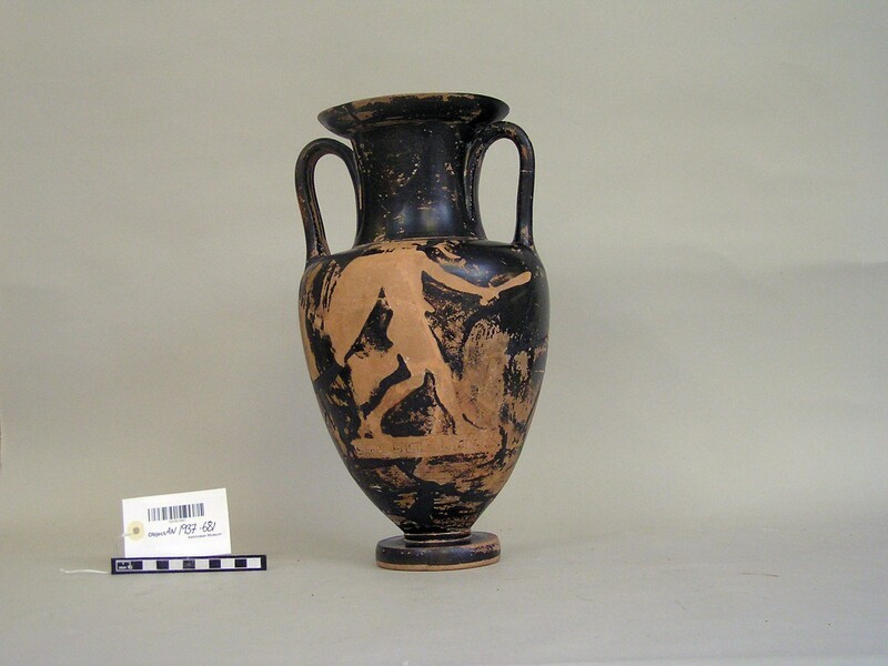 Attic red-figure pottery amphora depicting a mythological scene