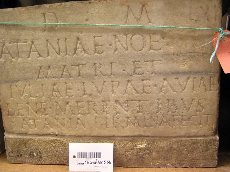 Tombstone with Latin inscription (ANChandler.3.56, record shot)