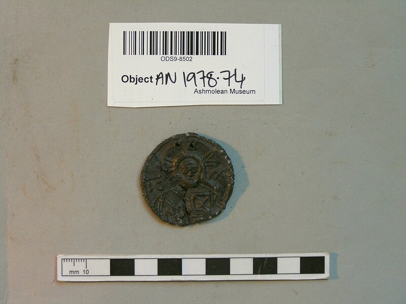 Seal with small bust of Christ and inscribed IC XC, and Medusa head