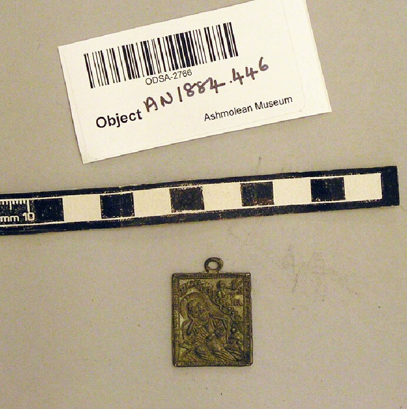 Amulet with saint and inscription, Latin cross on reverse (AN1884.446, record shot)