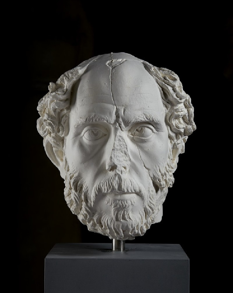 Cast of the head of a balding man with squinting eyes, from Aphrodisias