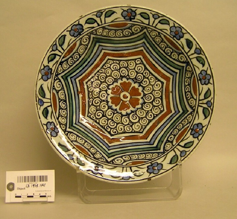 Dish with swirls and flowers