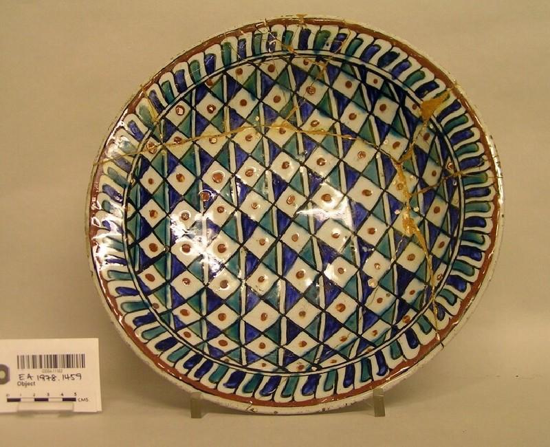 Dish with checkered ground