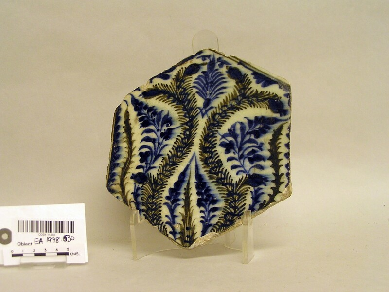 Hexagonal tile with vegetal decoration