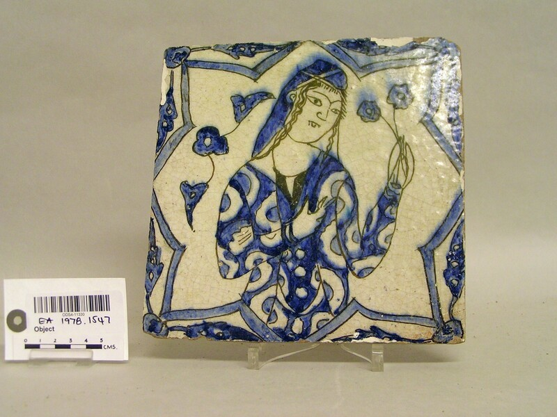 Tile with lady holding flowers (EA1978.1543, record shot)