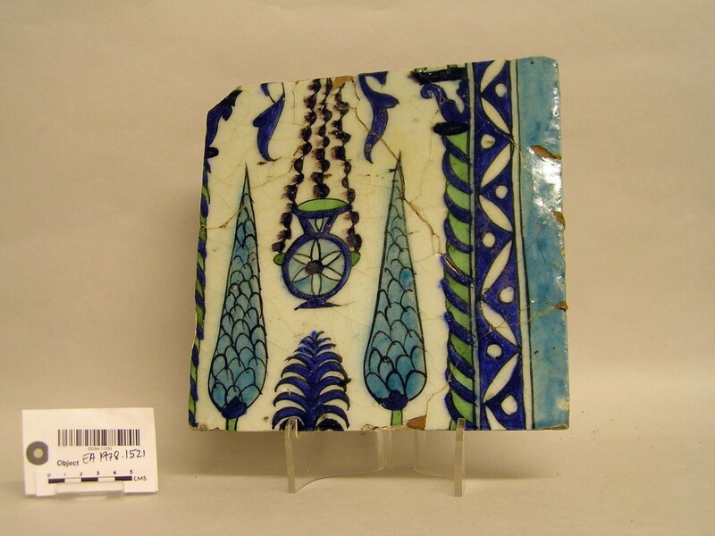 Tile with hanging lamp and cypress trees