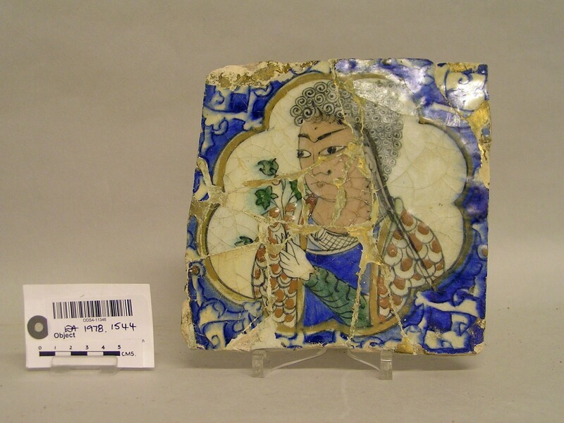 Tile with lady holding flowers