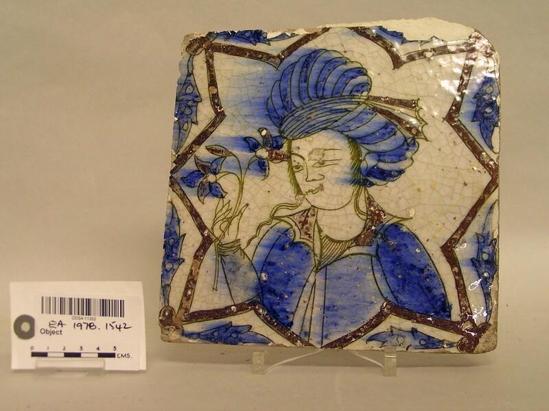 Tile with turbaned man (EA1978.1542, record shot)