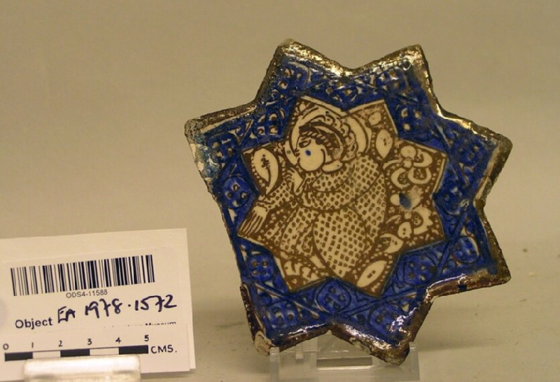 Star-shaped tile with seated figure (EA1978.1572, record shot)