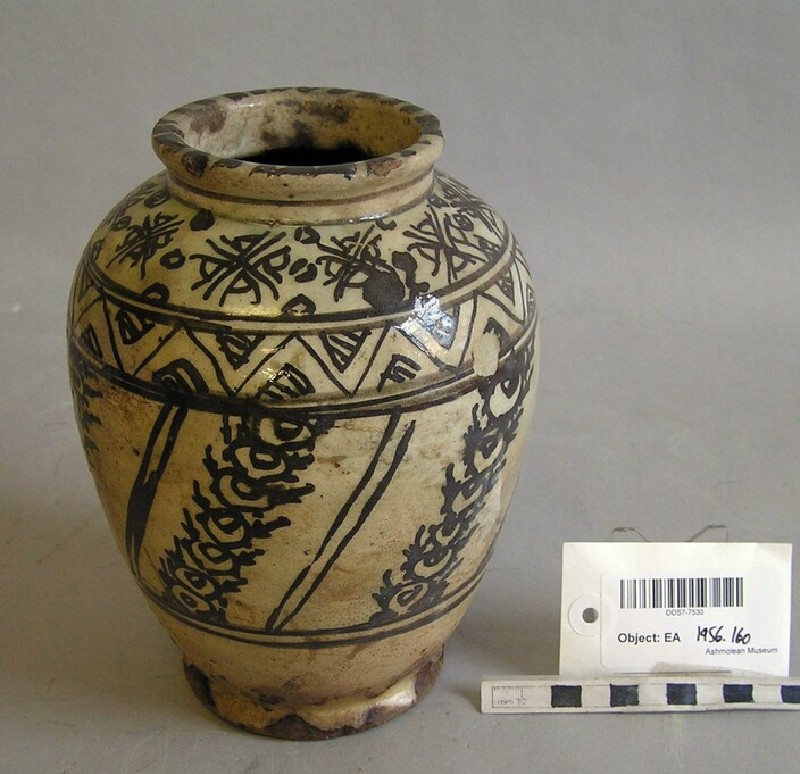 Jar with chevron and vegetal patterns