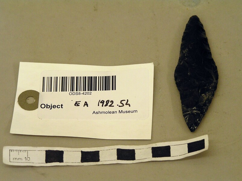 Obsidian double-pointed flake (EA1982.54, record shot)