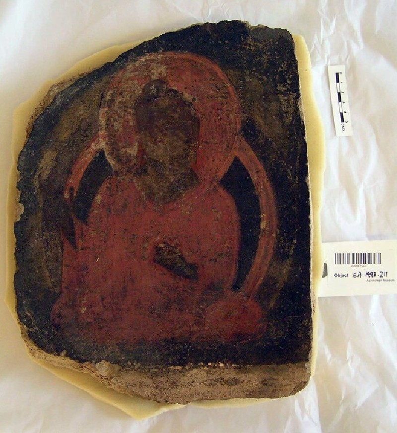 Wall-painting fragment depicting a seated Buddha in meditation (EA1998.211, record shot)