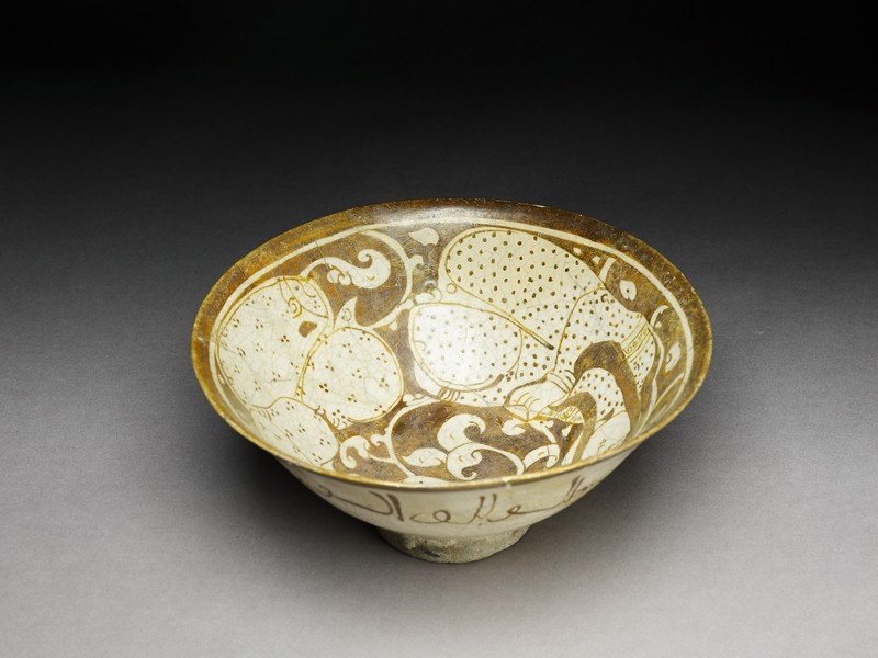 Bowl with seated female figures (EA1956.108, oblique            )