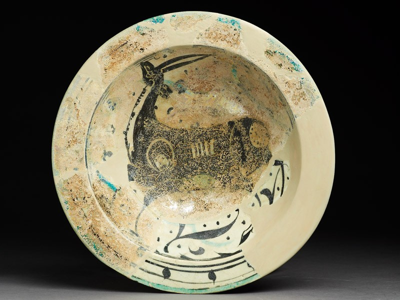 Bowl with deer, flowers, and dots (EA1956.122, top            )