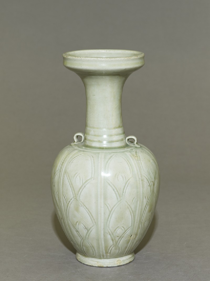 Greenware vase with floral decoration (EA1956.196, oblique            )