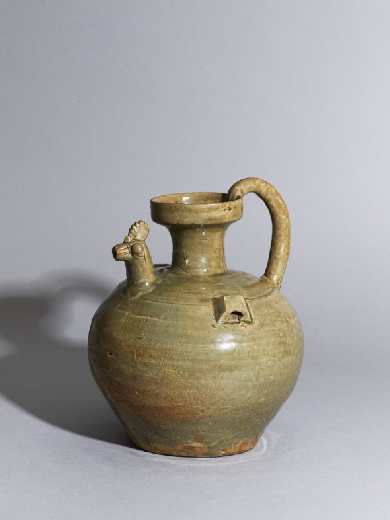 Greenware ewer with chicken head spout (oblique            )