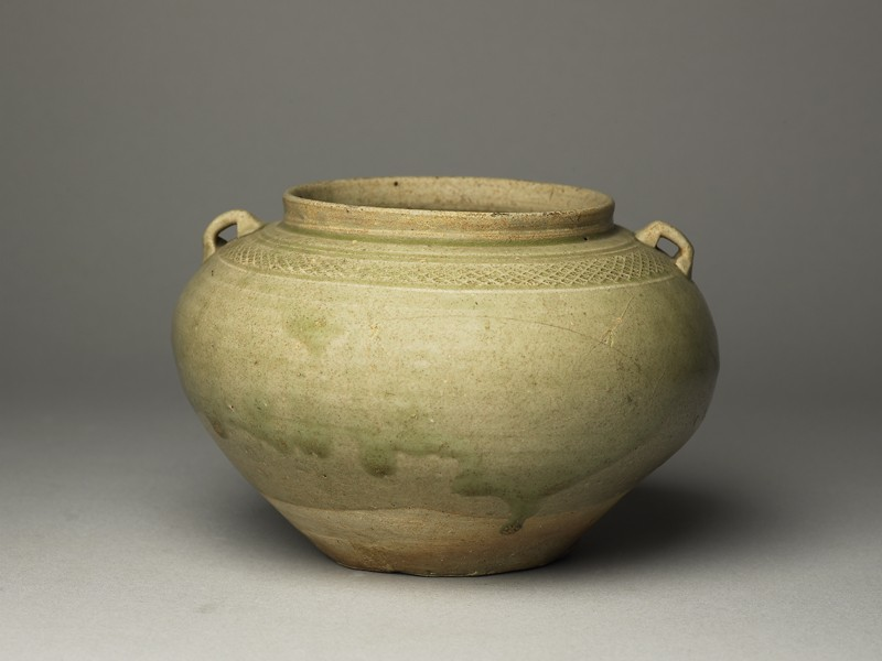 Greenware guan, or jar, with loop handles (EA1956.217, oblique            )