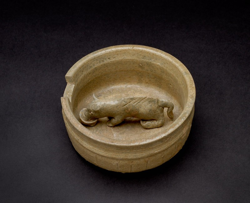 Greenware model of pig in a pen (EA1956.255, oblique            )
