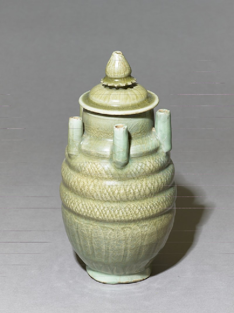 Greenware vase with five spouts and lid (EA1956.267, oblique            )