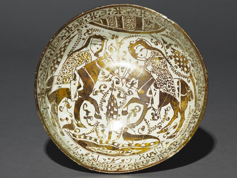 Bowl with riders in a landscape (top           )
