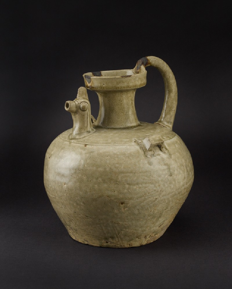 Greenware ewer with chicken head spout