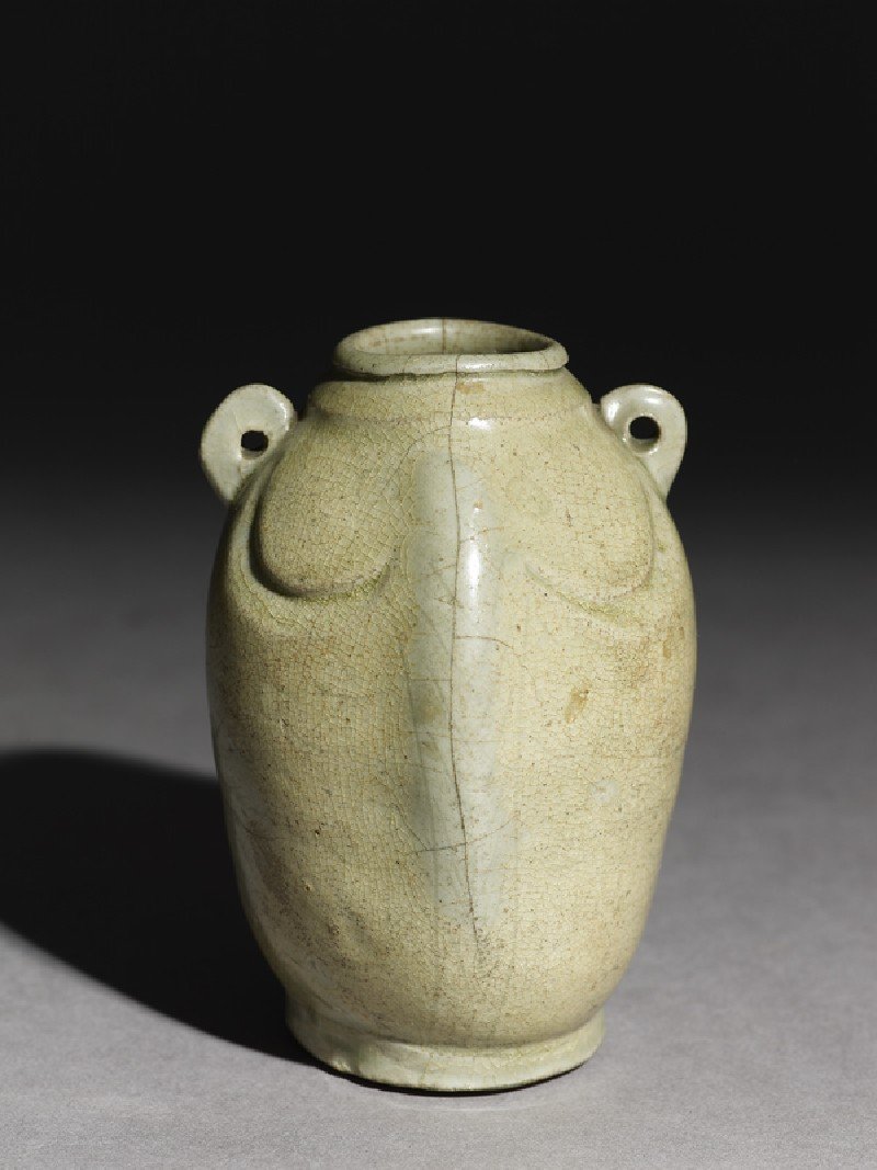 Greenware jar in the form of a double fish (EA1956.288, oblique            )