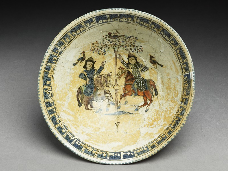 Bowl with paired riders inscribed with good wishes (top           )
