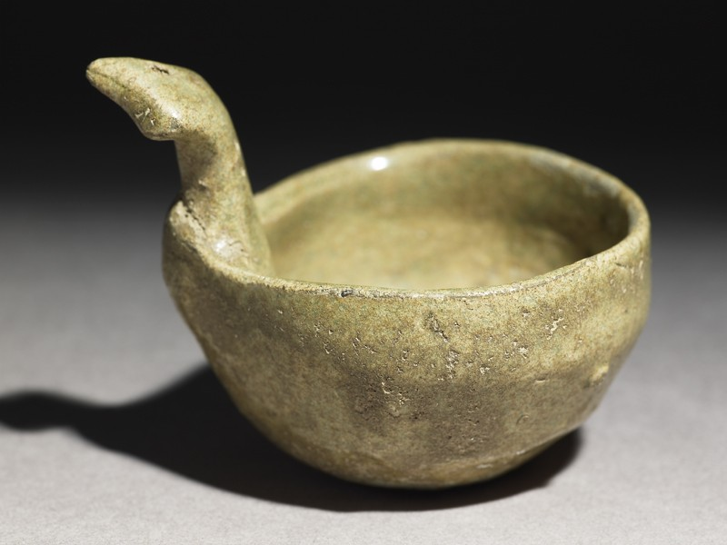 Greenware ladle with handle in the form of a bird-head (EA1956.381, oblique            )