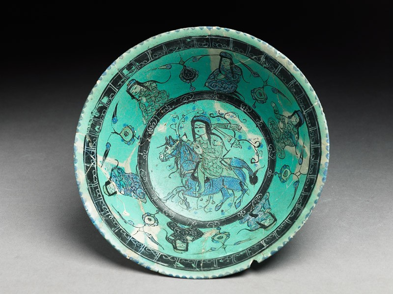 Bowl with horseman, female figures, and pseudo-kufic inscription (top           )